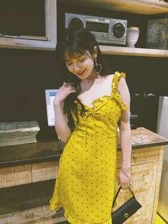 ALICE SELECT 經典八零年代髮飾立體荷葉邊圓點芥末黃 胸前綁帶 高腰顯瘦洋裝