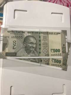 0 prefix Solid no :555555 indian new 500 Notes Unc