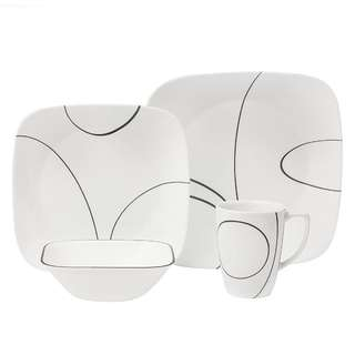 Corelle glass dinnerware square simple lines 16pcs set.