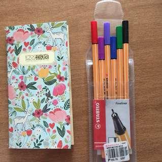 Stabillo Fine Liner (Unused) + mini notebook