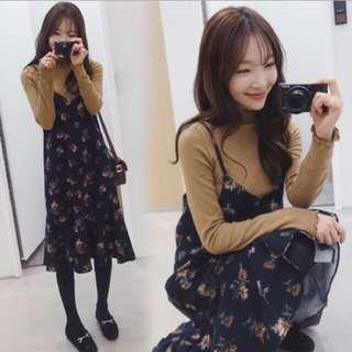 Long Sling Floral Dress Ulzzang Korea