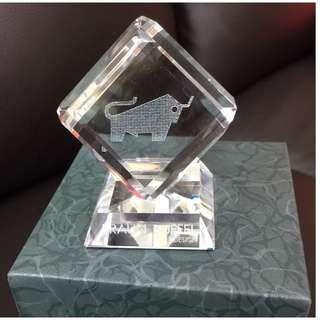 Braun Buffel Silver Crystal Paperweight *NEW