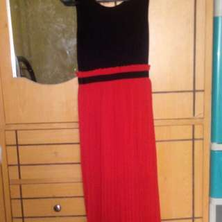 Preloved red and black long dress