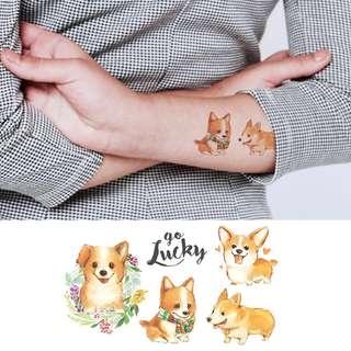 BN Instock Temporary Tattoo Temp Tattoos Puppies Dog Doggies Babies Mini Chibi Kawaii Nature Wild and Free Luck Love