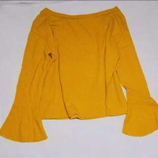 含運芥末黃喇叭袖長袖上衣