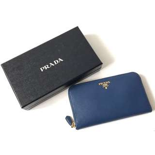 Prada saffiano zippy wallet bluette