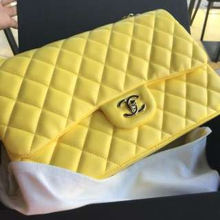 Chanel jumbo yellow lamb