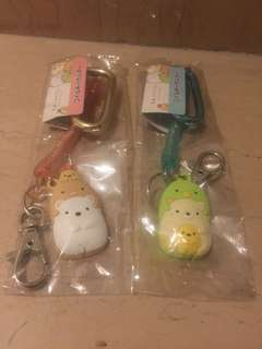 NWT Sumikko Gurashi tonkatsu polar bear penguin Neko cat key chain with hook and strap