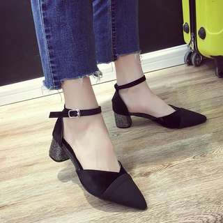 Korean version of the rough with the word buckle asakuchi pointed shoes hollow wild high heels