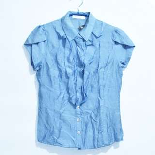 Blus/Blouse/Atasan/Kemeja Biru Formal (Paket Top 01)