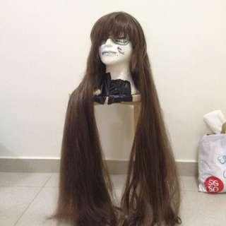 100cm Long Dark Brown Wig