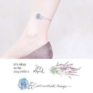 BN Instock Temporary Tattoo Temp Tattoo Flowers Floral Lavender Positive Spiritual Imperfect Okay devotion purity