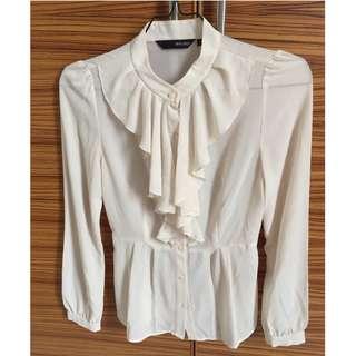 White frill blouse