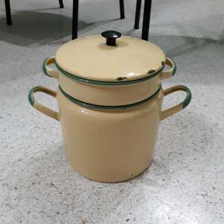 vintage enamel double boiler