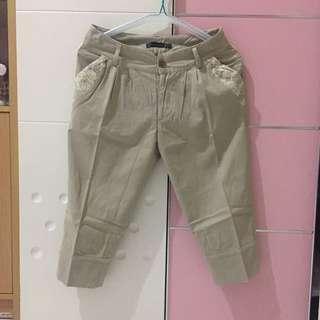 Cache&Cache Light Brown & Lace Pants