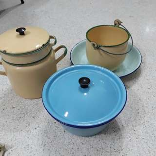 set of vintage enamel