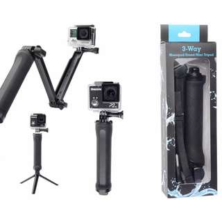 Selling a Collapsible 3 Way Monopod Mount Camera Grip Extension Arm Tripod Stand (Fits Go Pro and many others)