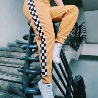 Checkered Strip Track Pants