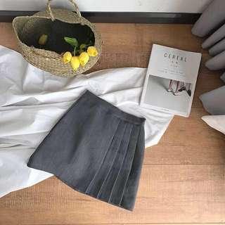 Pleated Skirt半截裙灰色百褶裙