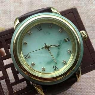 翡翠飄花石英錶,完美,玉質細膩,實用款,尺寸41.6/13.5,價格¥2300超值不議