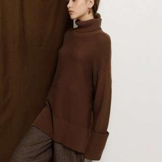 <徵>MEIER.Q慵懶隨興大寬袖反摺高領毛衣