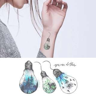 BN Instock Temporary Tattoo Temp Tattoo Bulb Birds Forest Floral Wild Nature Plants Scenery Traveller