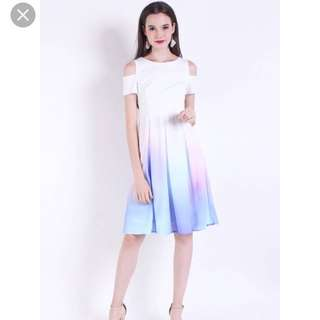 Neonmello Brixton Aurora Cold Shoulder Ombre Dress in Pastel