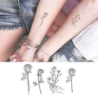 BN Instock Temporary Tattoo Temp Hand Tattoo Floral Wild Nature Rose Lines