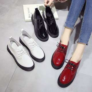 (35~40) 2018 spring Harajuku wind small shoes Korean women's round shoes bright skin