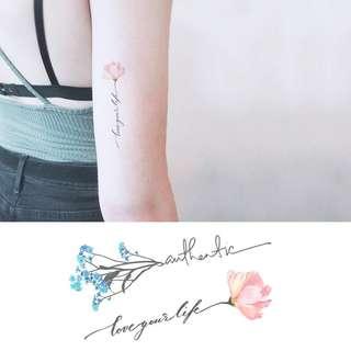 BN Instock Temporary Tattoo Temp Tattoo Flowers Floral Stem