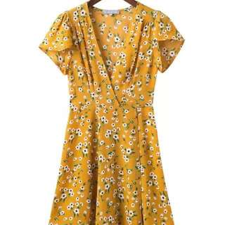 Mustard Vintage Floral Wrapped Dress only Size M available