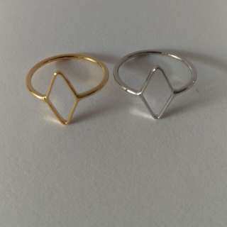 Geometric Gold/rhodium plated ring