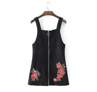 (PO) ring zip up rose embroidery overall