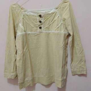 Yellow Semi Sabrina Neck Shirt