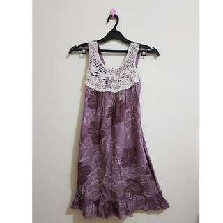 Dress Cokelat Bunga-bunga