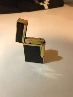 ST Dupont Lighter with logo black gold eth btc xrp