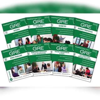 GRE Manhattan Prep Set of 8 Books Guides, 4th Edition.