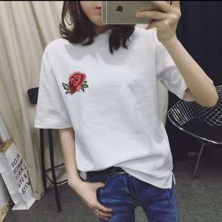 Floral embroidery tshirt