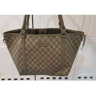 Original Authentic Grey Gucci Tote Handbag Leather MADE IN ITALY