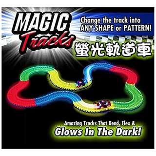 【美國熱銷】Magic Tracks 螢光DIY拼裝軌道車