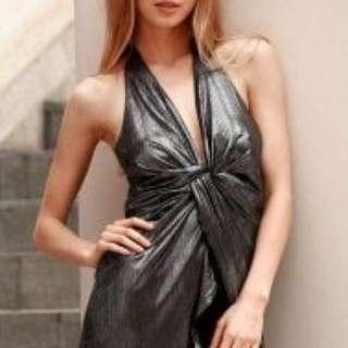 Deep Plunge Backless Halter Dress in Satin Black with Adjustable Ribbon Ties