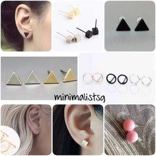 5 @ $10 // 10 designs // Minimalistic Earrings
