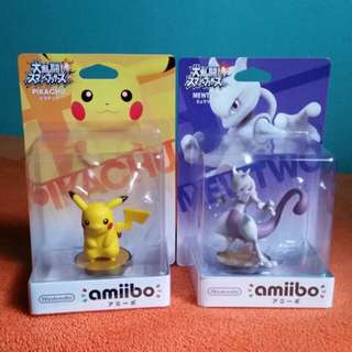 Nintendo Amiibo Pokemon Super Bros. Series  Pikachu / Mewtwo Figure Wii U 3DS