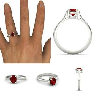 Garnet birthstone January custom design sterling silver rings