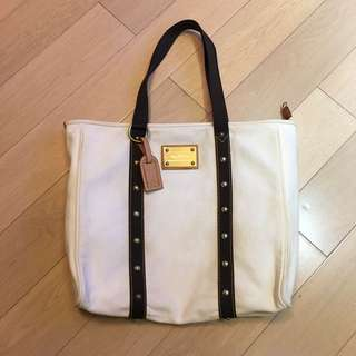 Louis Vuitton Antigua white canvas GM large shoulder tote bag