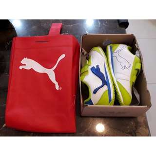 PUMA Cabana racer Comik V kids . New shoes in Blue-White-Green-Lime . Size Kids UK 9