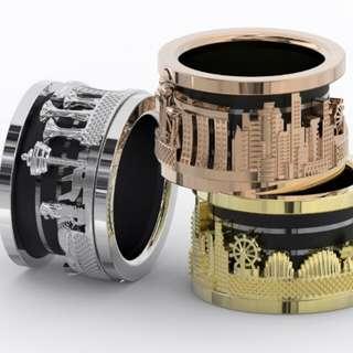 Singapore original design cityscape spinner custom ring