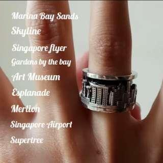 Custom Singapore ring landscape ring original design handmade spin ring