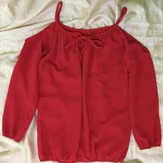 Cold Shoulder Top (Red)