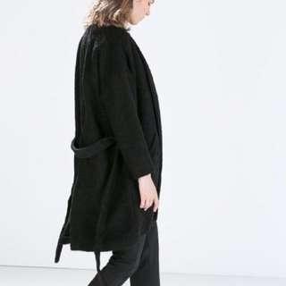 Zara boucle wrap coat